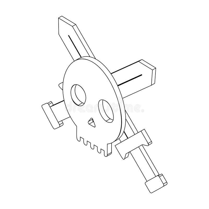 Crânio com duas espadas, 3d isométrico ilustração stock