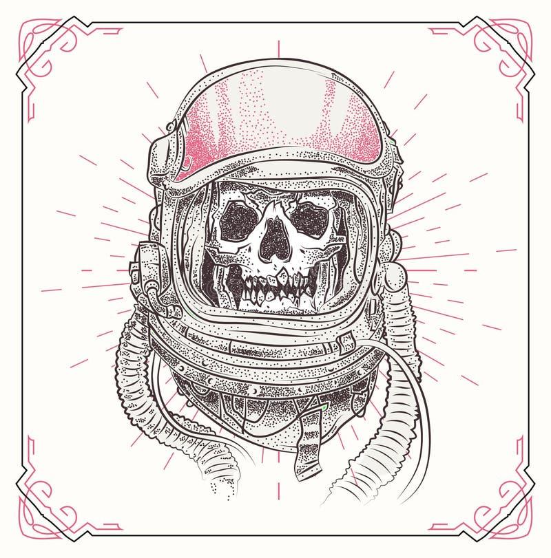 Crânio com elementos abstratos geométricos Ilustração desenhada mão ilustração stock