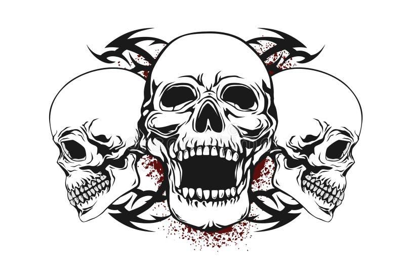 Crânio com elementos tribais ilustração stock