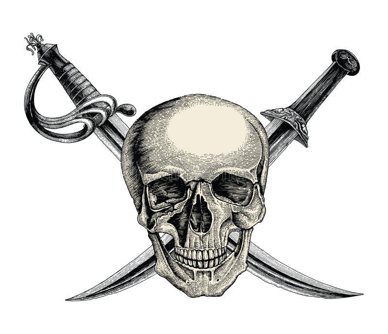 Crânio com espadas cruzadas, símbolo do pirata, vintag do desenho da mão do logotipo ilustração stock
