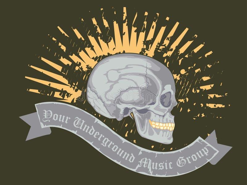 Crânio com fita e texto do nome do roup da música ilustração royalty free