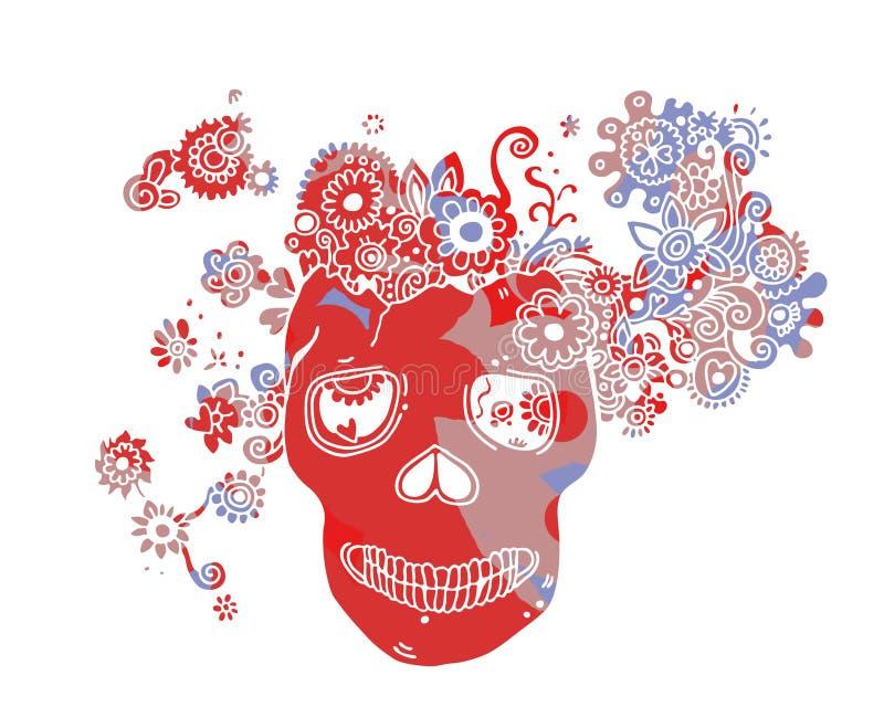 Crânio Com Flores Imagens de Stock Royalty Free