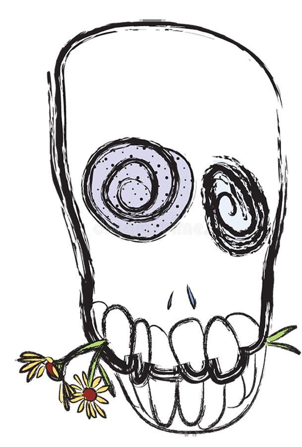 Crânio com flores ilustração royalty free