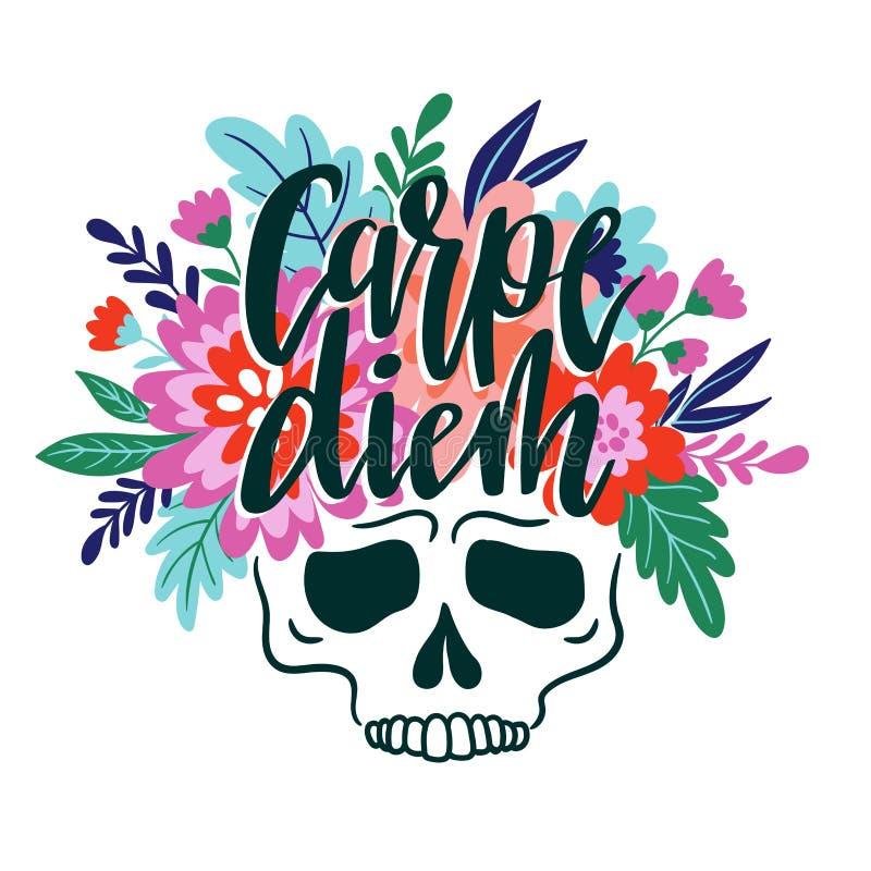 Crânio com a grinalda das flores e da rotulação - carpe diem Vector a ilustração do feriado para o dia dos mortos ilustração do vetor
