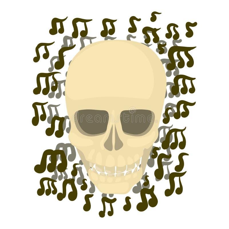 Crânio com notas ícone, estilo dos desenhos animados ilustração do vetor