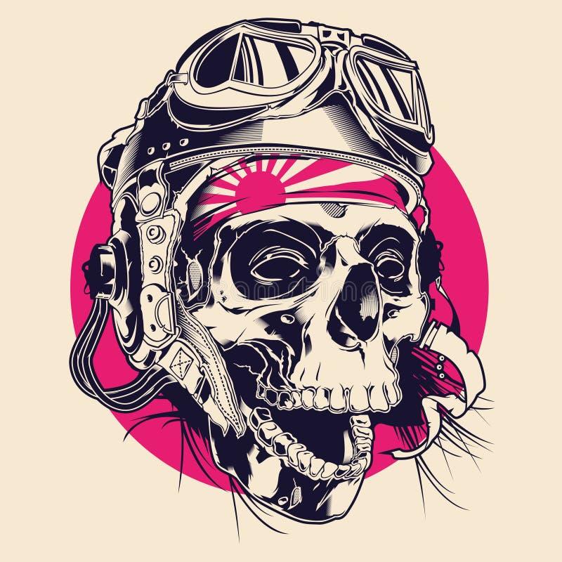 Crânio com piloto Helmet Illustration ilustração do vetor