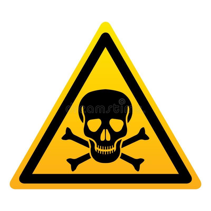 Crânio com sinal amarelo do triângulo dos ossos S?mbolo do perigo ilustração do vetor