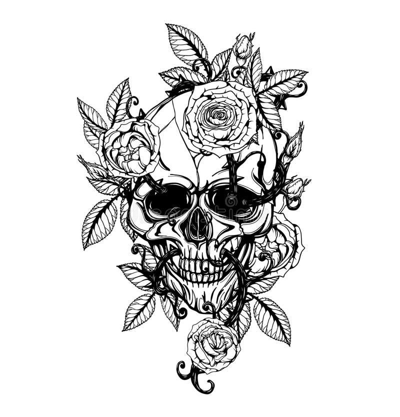 Crânio com a tatuagem cor-de-rosa que tira à mão ilustração royalty free