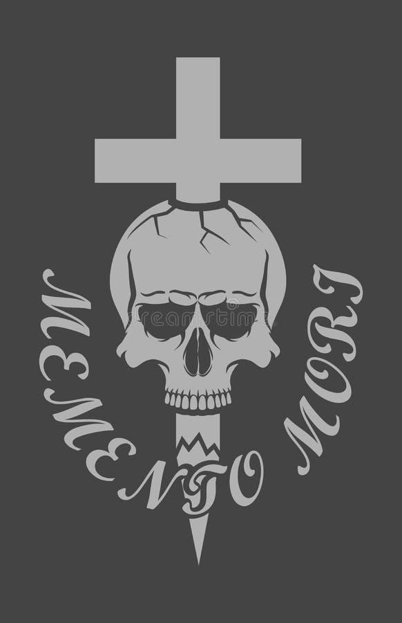 Crânio com uma cruz e um texto ilustração stock