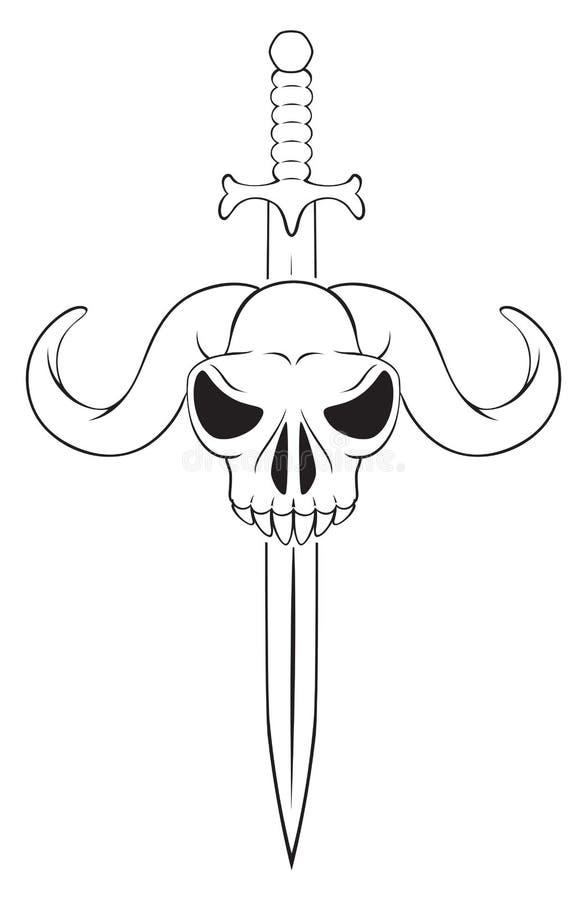 Crânio com uma espada ilustração do vetor