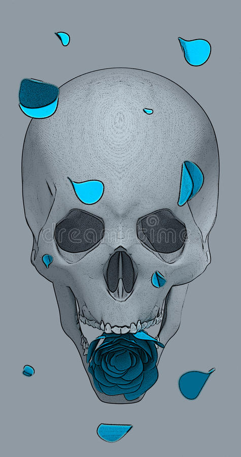 Crânio com uma rosa azul imagem de stock