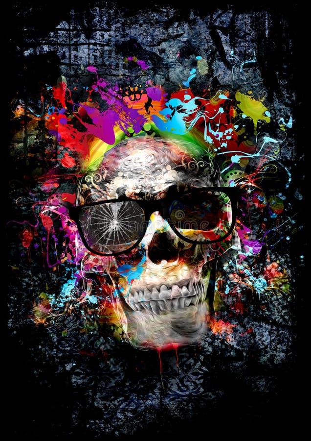 Crânio com vidros, arte ilustração stock