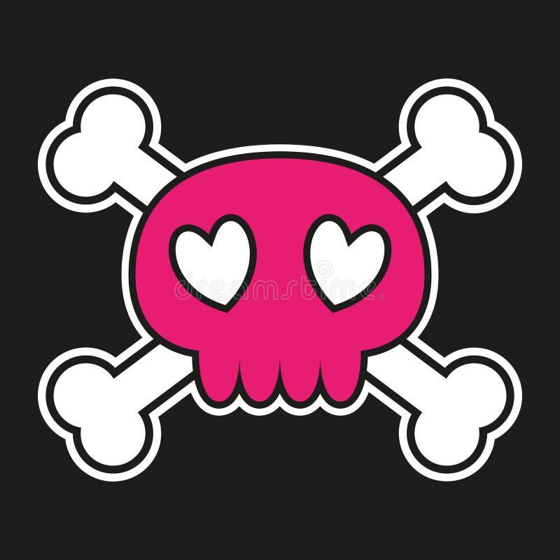 Crânio cor-de-rosa com ossos cruzados ilustração stock