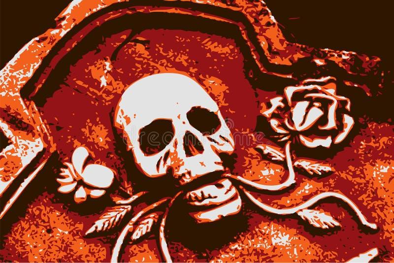 Crânio da laranja do grunge de Halloween ilustração royalty free