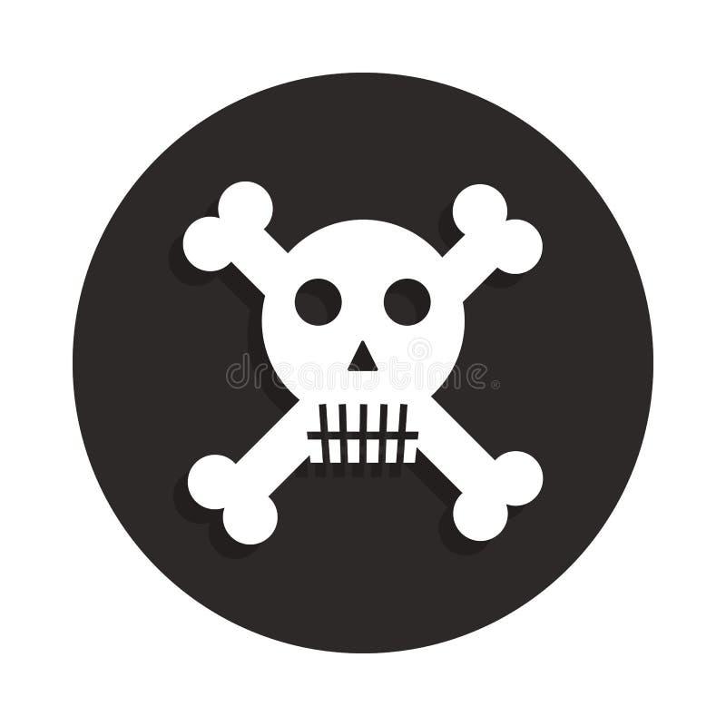 Crânio da morte dos ossos cruzados, perigo ou ícone liso do veneno no estilo do crachá Um do ícone da coleção da morte pode ser u ilustração royalty free