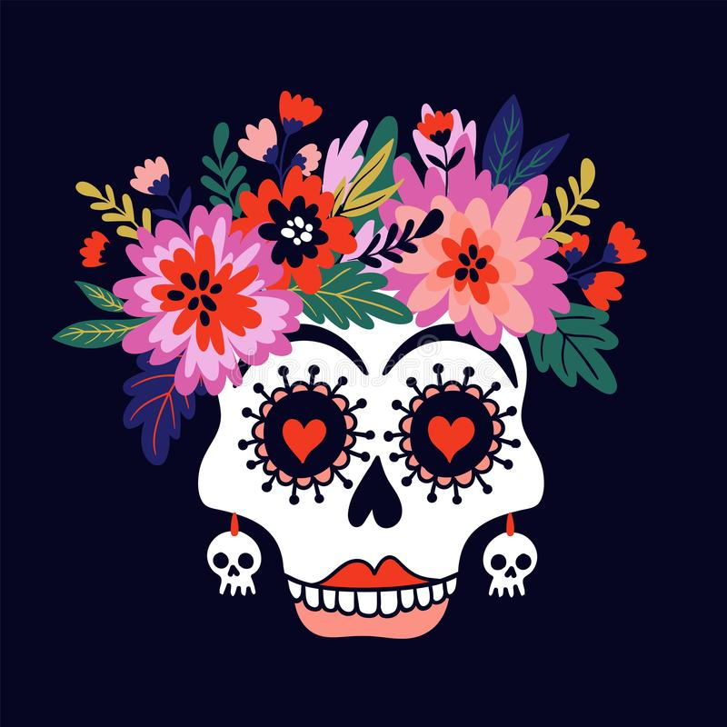 Crânio da mulher com a grinalda das flores Vector a ilustração do feriado para o dia dos mortos ou do Dia das Bruxas ilustração stock