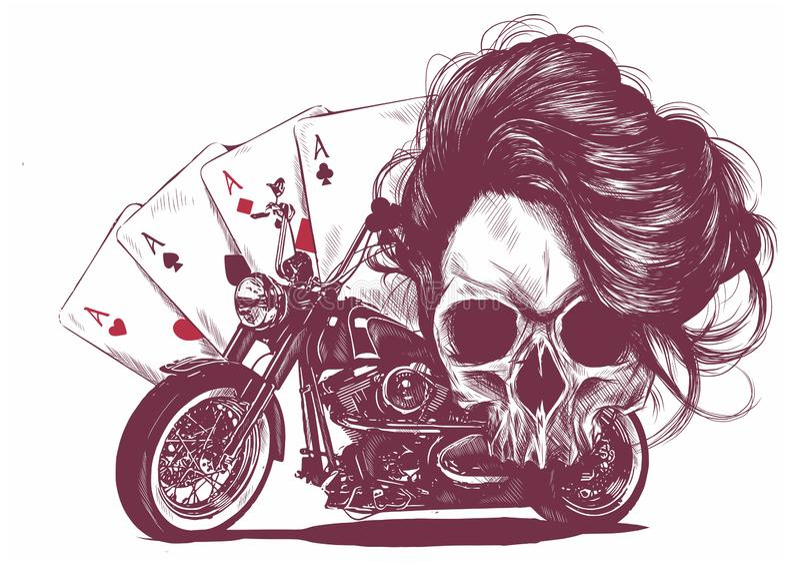 crânio da mulher da motocicleta da ilustração com o pôquer dos cartões de jogo ilustração royalty free