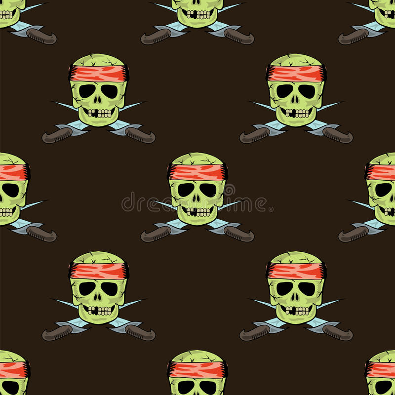 Crânio Dagger Seamless Pattern afiado transversal ilustração stock