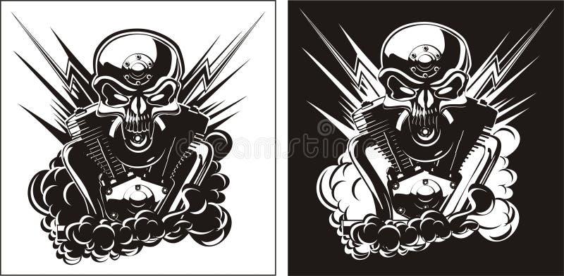 Crânio de B&W com jogo do motor ilustração do vetor