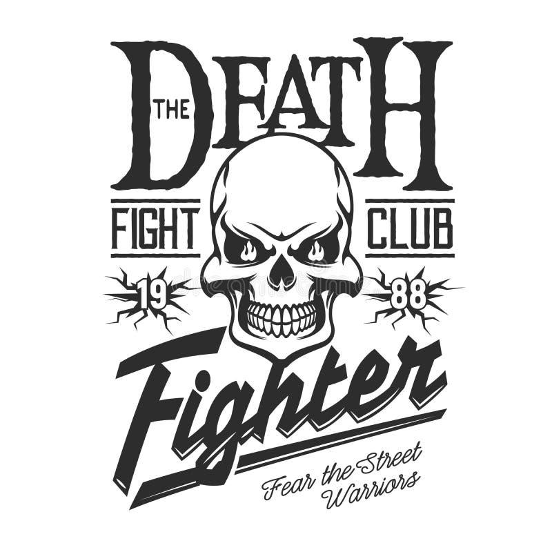 Cr?nio de esqueleto da morte, sinal do clube da luta da rua ilustração royalty free