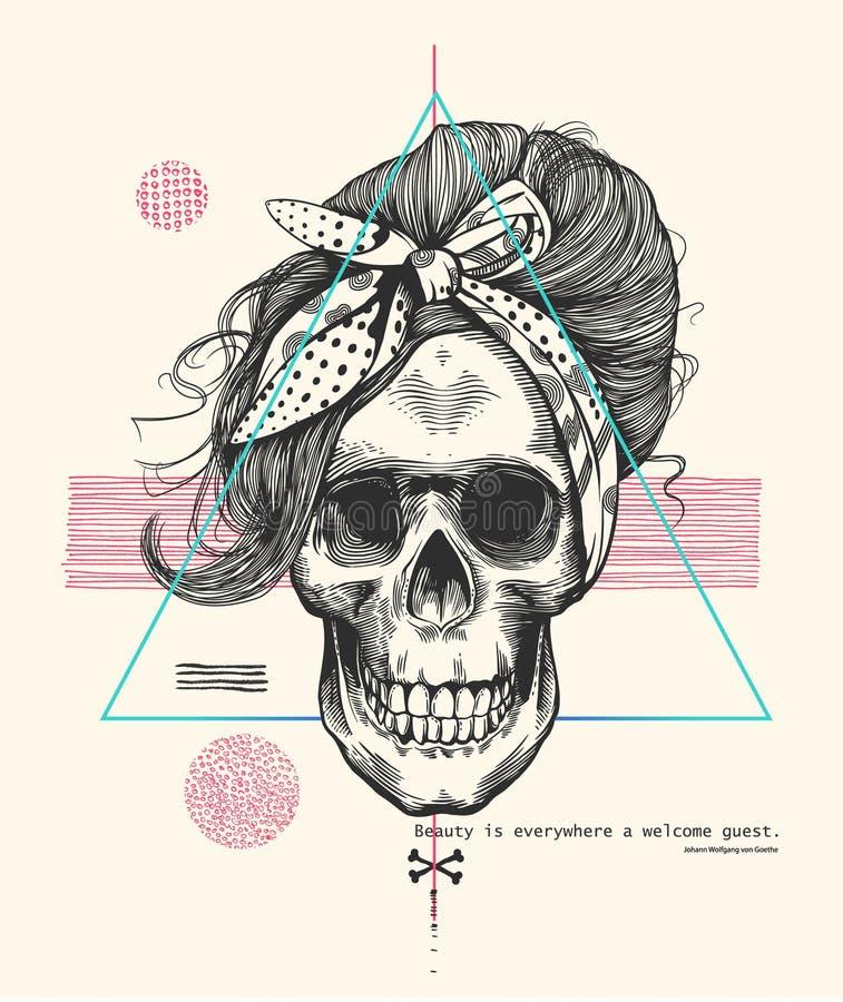Crânio de esqueleto do ` s das mulheres no estilo do bloco xilográfico com o penteado elegante que veste o lenço fresco contra o  ilustração royalty free