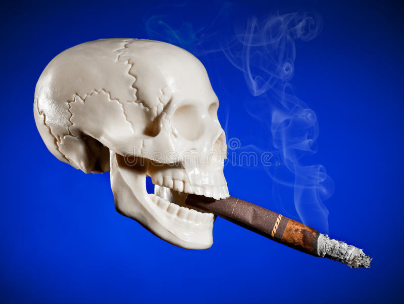 Crânio de fumo fotografia de stock royalty free