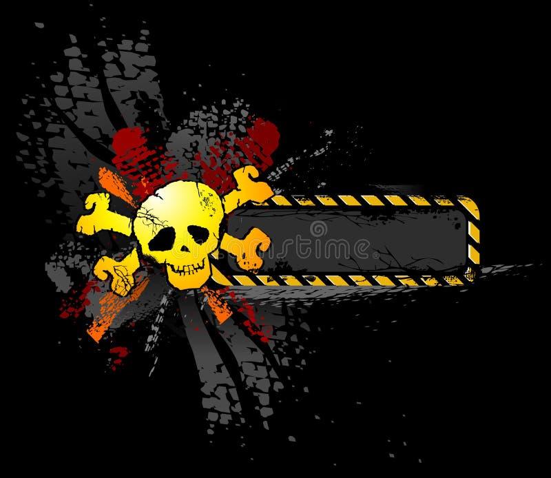 Crânio de Grunge com bandeira do texto ilustração stock