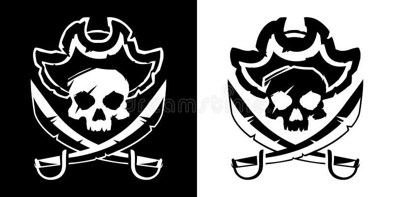 Crânio de Jolly Roger em um chapéu e em um vetor cruzado do símbolo das espadas ilustração do vetor