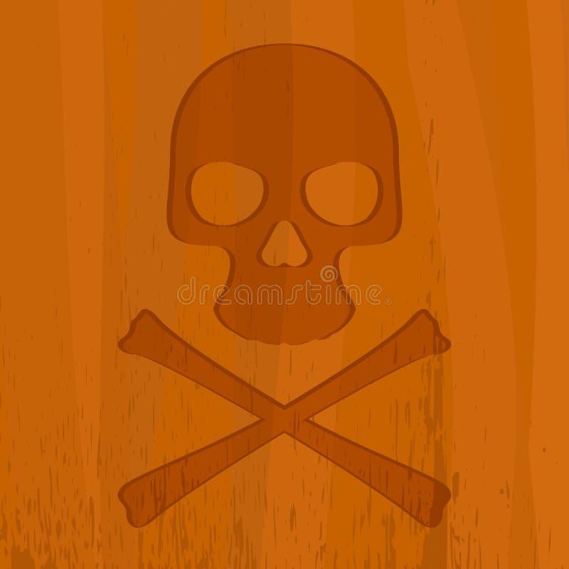 Crânio de madeira ilustração do vetor