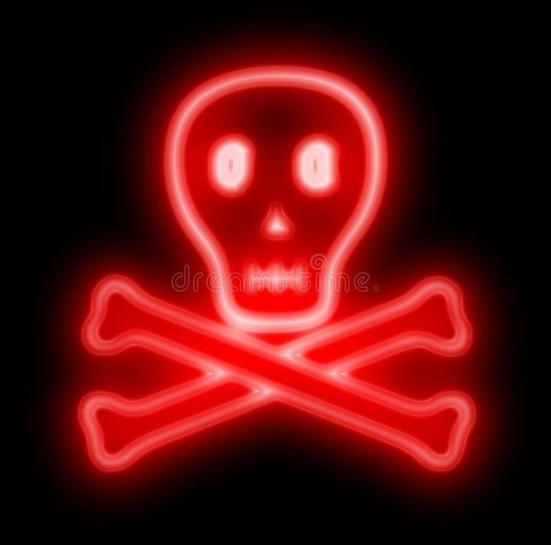 Crânio de néon do perigo assustador no vermelho ilustração do vetor
