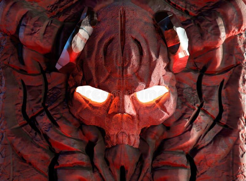Crânio de pedra gravado do demônio ilustração stock