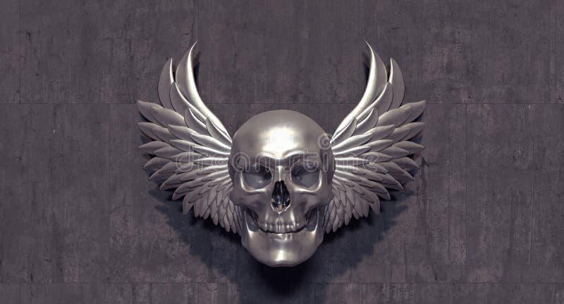 Crânio de prata com as asas de prata do anjo ilustração royalty free