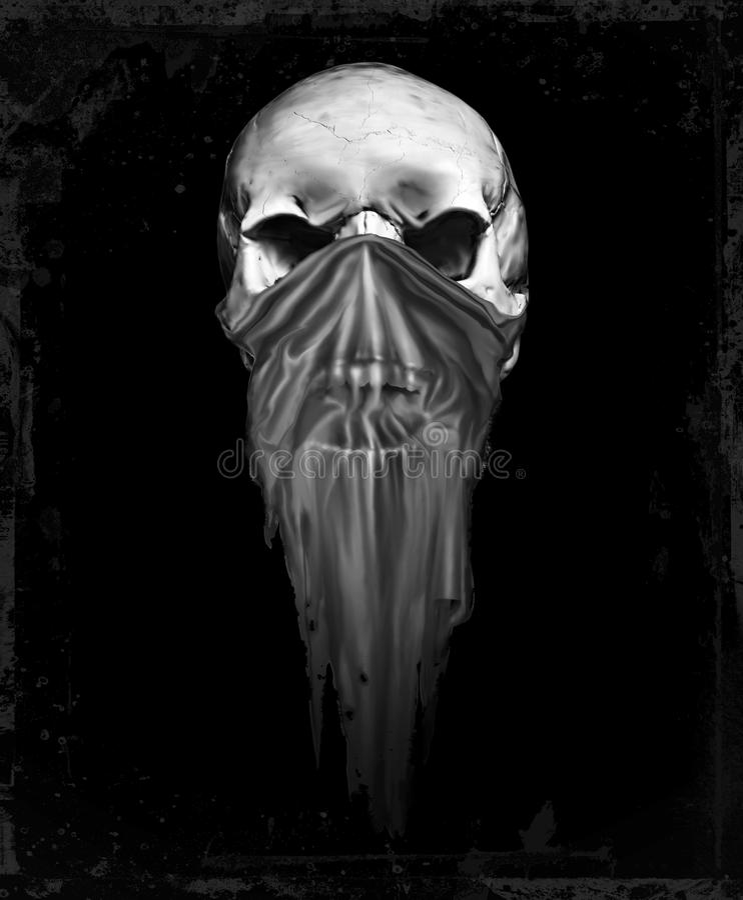 Crânio de prata mascarado do grunge ilustração royalty free