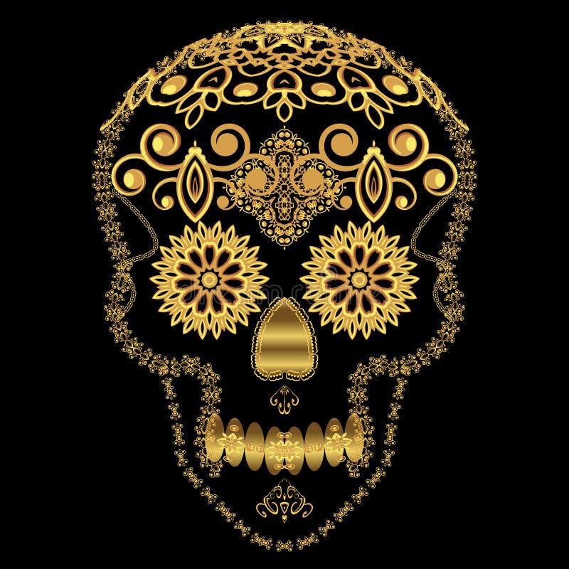Crânio decorativo do açúcar do ouro ilustração stock