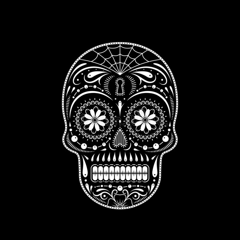 Crânio decorativo do açúcar do estêncil Dia dos mortos ilustração royalty free