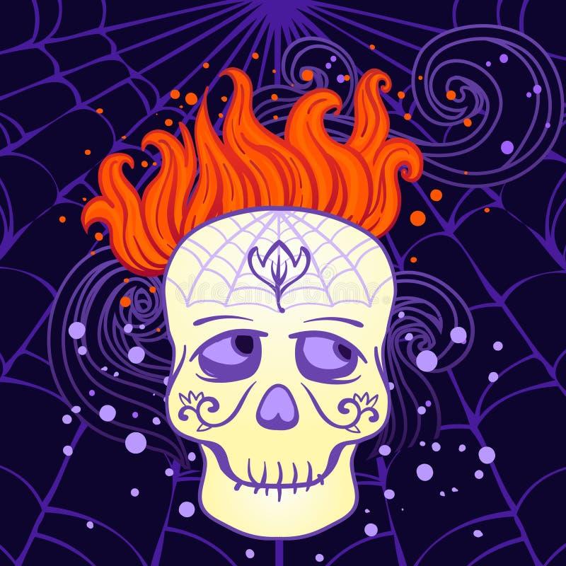 Crânio Do Açúcar De Halloween No Vetor Fotos de Stock Royalty Free