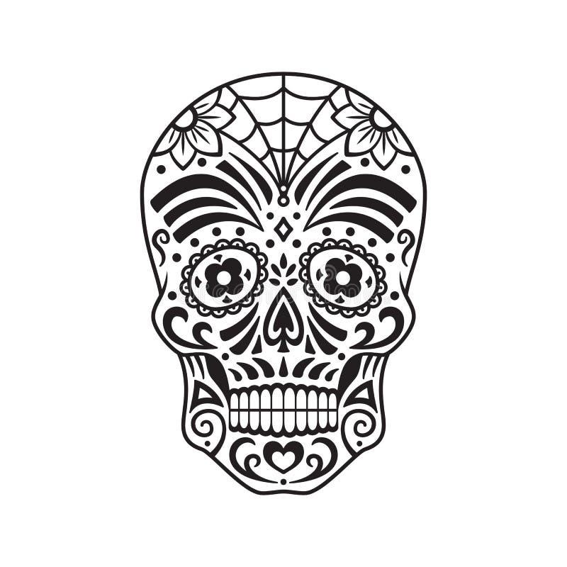 Crânio do açúcar Tatuagem preto Dia mexicano dos mortos Ilustração do vetor ilustração do vetor