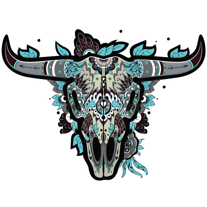 Crânio do búfalo fresco ilustração royalty free