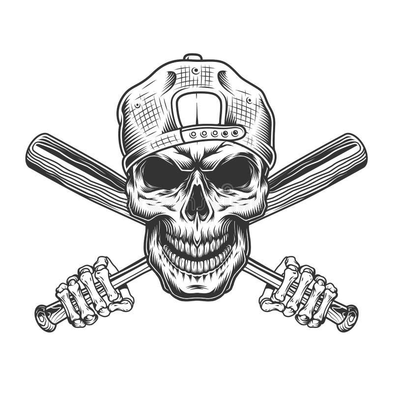 Crânio do bandido do vintage no tampão do moderno ilustração royalty free