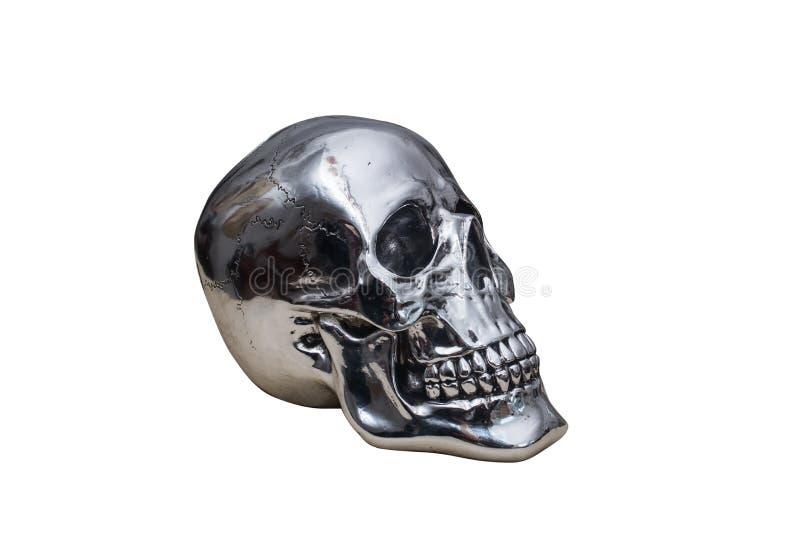 Crânio do cromo do metal foto de stock