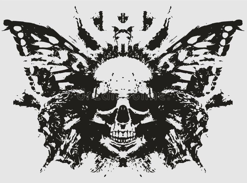 Crânio do demônio com borboleta ilustração royalty free