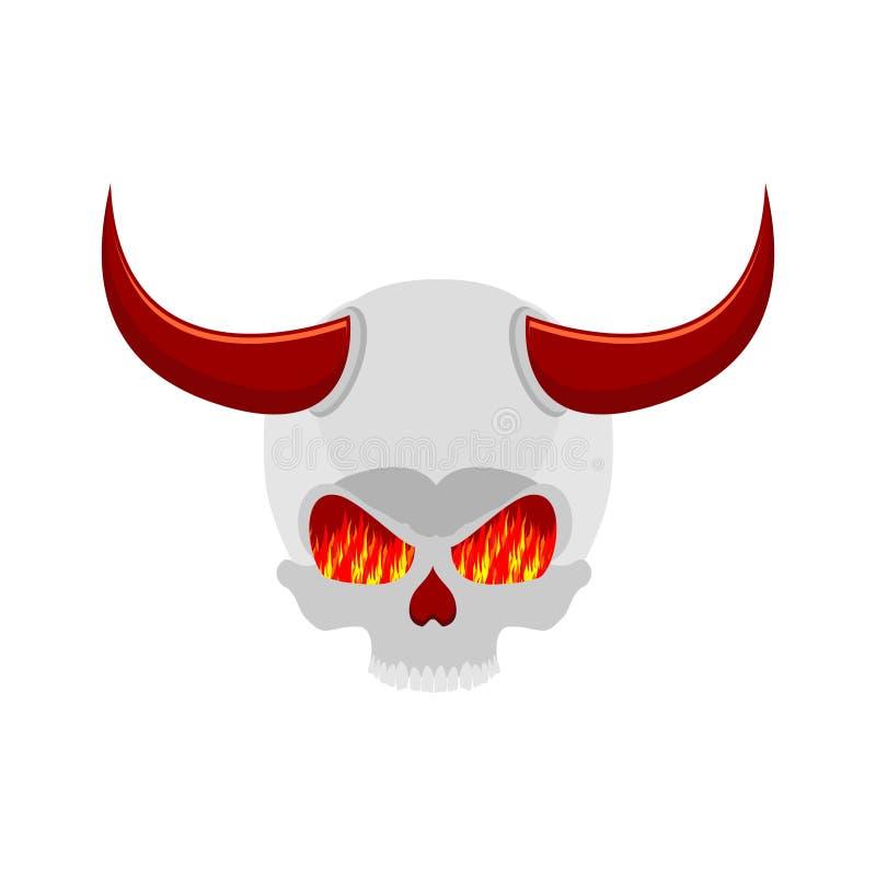 Crânio do demônio com chifres olhos da chama Esqueleto de Satã ilustração royalty free
