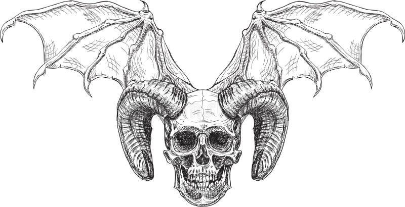Crânio do diabo do horror imagens de stock royalty free
