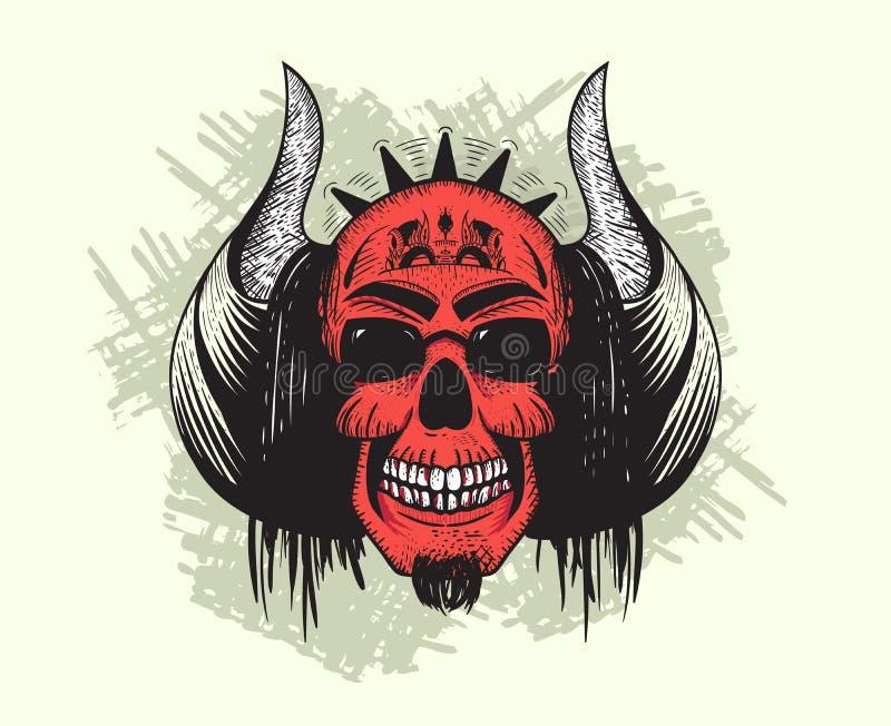 Crânio do diabo vermelho com chifres e cabelo ilustração royalty free