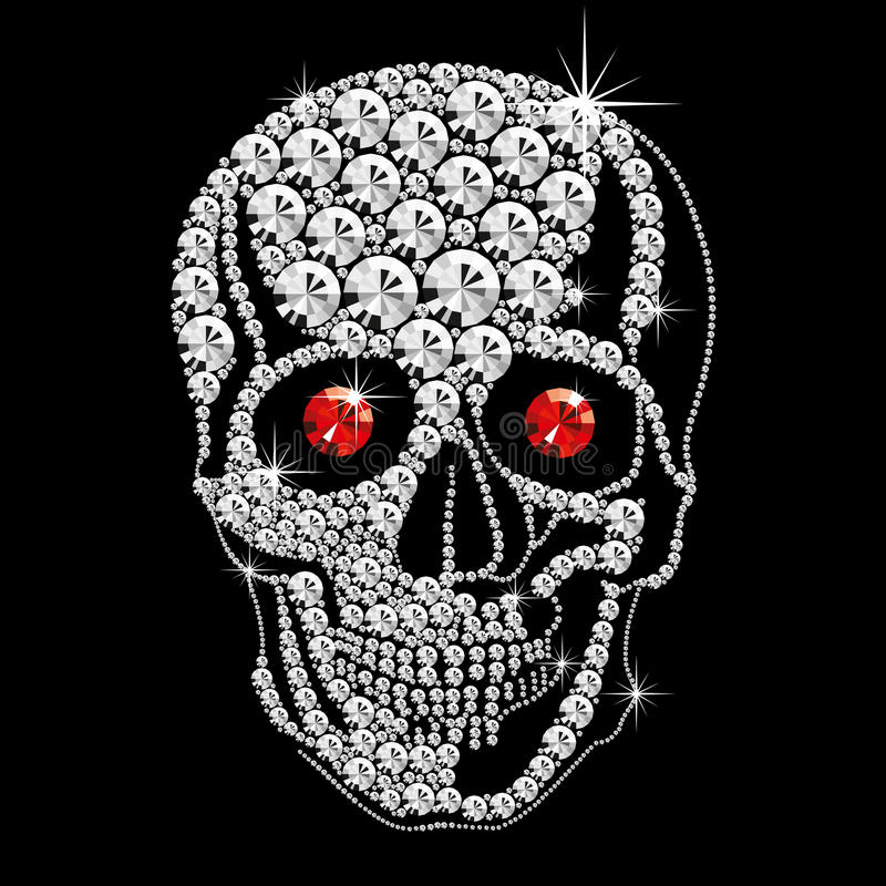 Crânio do diamante com olhos vermelhos foto de stock royalty free