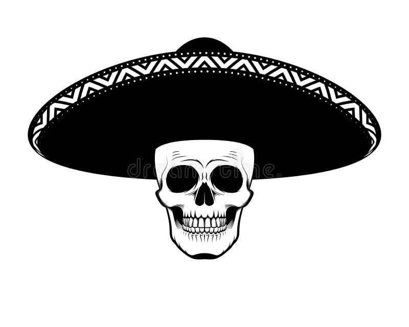 Crânio do estêncil no chapéu preto e branco ilustração royalty free
