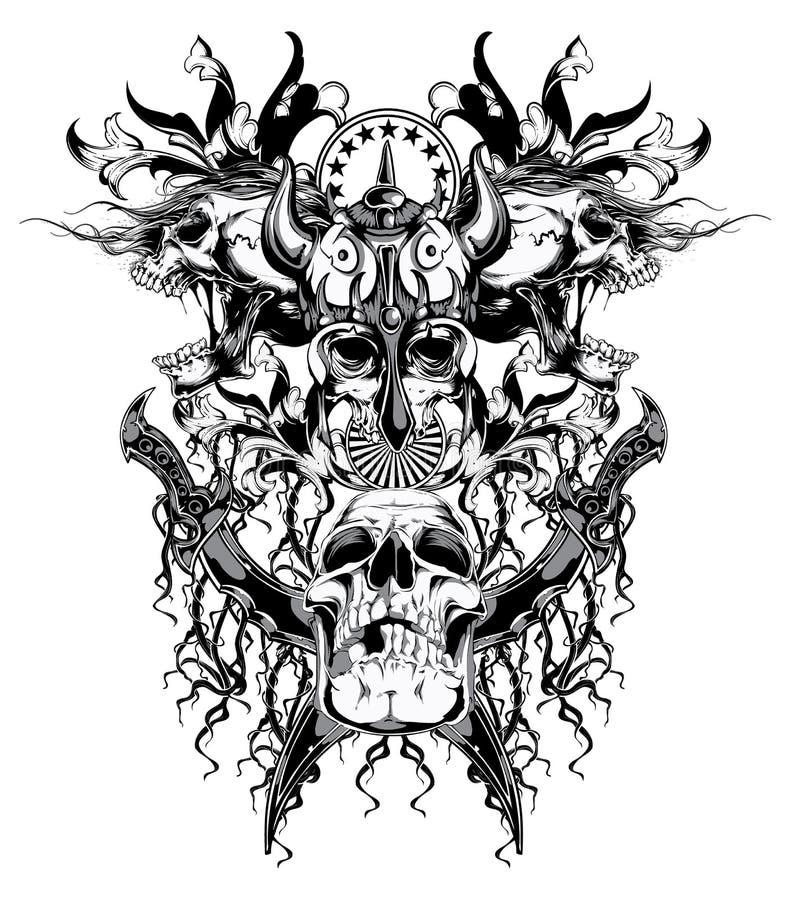 Crânio do guerreiro ilustração royalty free