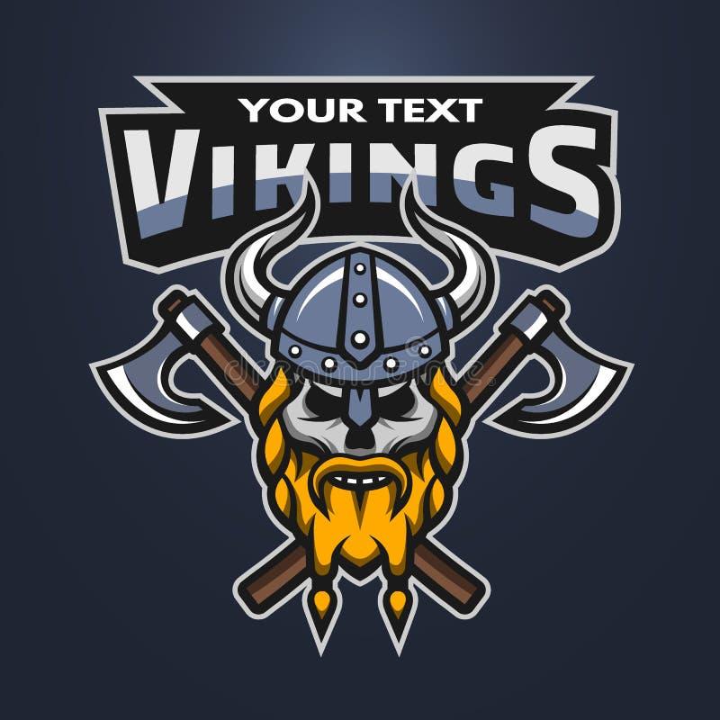 Crânio do guerreiro de Viking e emblema dos machados ilustração stock