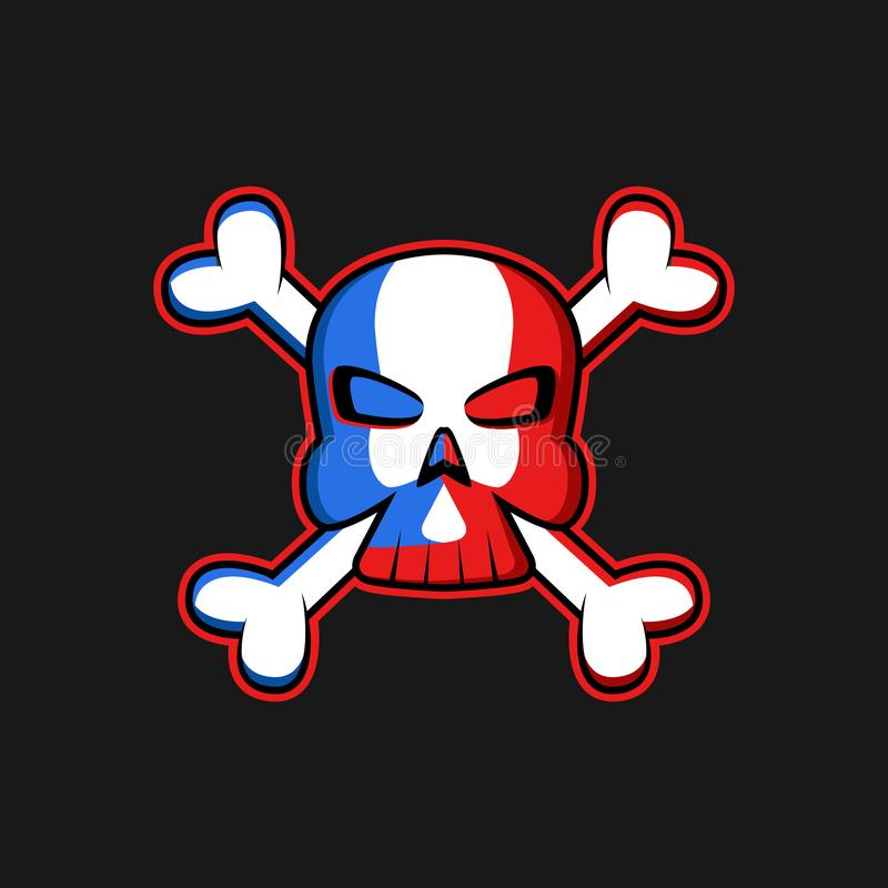 Crânio do logotipo de Jolly Roger com ossos cruzados, a bandeira de pirata de ameaça do símbolo, a cópia do t-shirt ou o modelo d ilustração do vetor