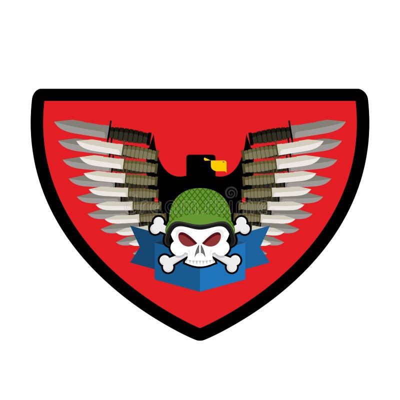 Crânio do logotipo do exército Crachá dos soldados Emblema militar Asas e armas ilustração do vetor